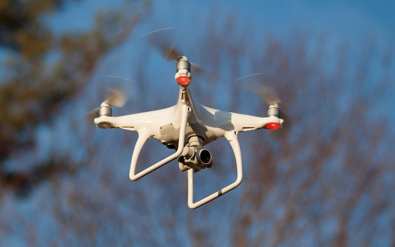 Phantom 4 drone flying